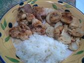 食物:杏鮑菇 肉片 小雞腿肉 飯