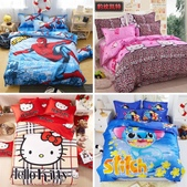 純棉時尚卡通床包床單4件套 kitty貓 冰雪奇緣 小黃人 蜘蛛人 哆啦A夢 米奇 :相簿封面