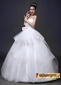10月(1):43236555819婚紗禮服新款公主結婚韓版綁帶顯瘦齊地抹胸新娘大碼婚紗2.jpg