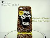 Apple_iphone__貼鑽設計:7 Design 工作室_Swarovski 元素_手機貼鑽_iphone 4s 保護殼 Yellow Rose_skull_水晶 水鑽 貼鑽設計-1.jpg