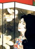 中國現代十大名家之張大千作品欣賞 :荷花屏风美女.jpg