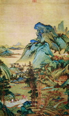 中國現代十大名家之張大千作品欣賞 :江堤晚景.jpg