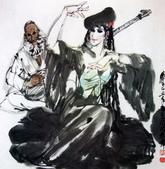中國現代十大名家之黃冑作品欣賞:于阗歌舞.jpg