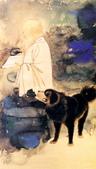中國現代十大名家之張大千作品欣賞 :张大千自画像与黑虎.jpg