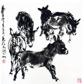 中國現代十大名家之黃冑作品欣賞:六驴图.jpg
