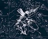 西洋星座手繪線描圖:Aqvila, Antinous   -   Орел, Антиной.JPG