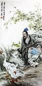中國現代十大名家之黃冑作品欣賞:王羲之(摹任伯年笔意.jpg