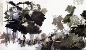 中國現代十大名家之張大千作品欣賞 :巨荷四连屏.jpg